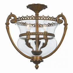 Crystorama Three Light Antique Brass Bowl Semi-Flush Mount