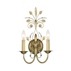 Crystorama Golf Leaf Primrose 2 Light Candle Style Floral Double Wall Sconce