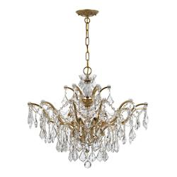 Crystorama Six Light Antique Gold Down Chandelier