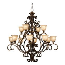 Crystorama Bronze Umber Norwalk 12 Light 48in. Wide 2 Tier Wrought Iron Chandelier