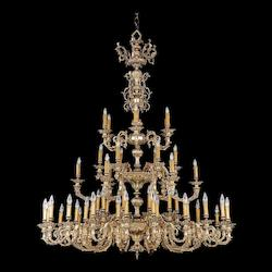 Crystorama Olde Brass Novella 55 Light 62in. Wide 3 Tier Cast Brass Candle Style Chandelier
