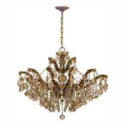 Crystorama Six Light Antique Brass Up Chandelier