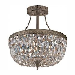 Crystorama Three Light English Bronze Bowl Semi-Flush Mount