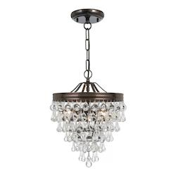 Crystorama Vibrant Bronze Calypso 3 Light Pendant