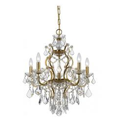 Crystorama Six Light Antique Gold Up Chandelier
