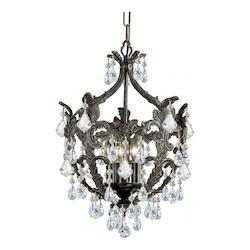 Crystorama Five Light English Bronze Up Mini Chandelier