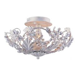 Crystorama Three Light Antique White Bowl Semi-Flush Mount