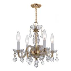 Crystorama Traditional Polished Brass Crystal Mini Chandelier With 4 Clear Lights