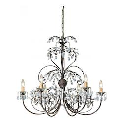 Crystorama Six Light Dark Rust Up Chandelier