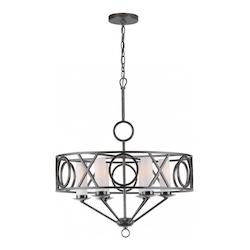 Crystorama English Bronze Odette 6 Light 25in. Wide Wrought Iron Drum Chandelier