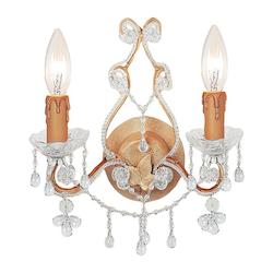 Crystorama Two Light Champagne Wall Light