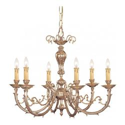 Crystorama Olde Brass Etta 6 Light 28in. Wide Cast Brass Candle Style Chandelier
