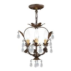 Crystorama Three Light Dark Rust Up Mini Chandelier