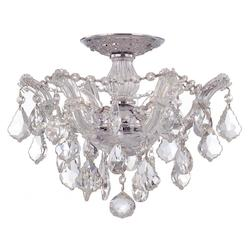 Crystorama Maria Theresa Chrome 3 Light Hand Cut Crystal Semi-Flush Ceiling Light