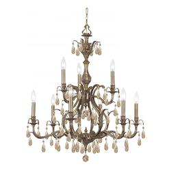 Crystorama Nine Light Antique Brass Up Chandelier