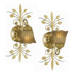 Crystorama One Light Gold Leaf Wall Light