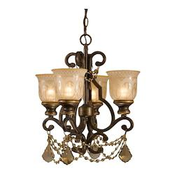 Crystorama Four Light Bronze Umber Amber Etched Glass Up Mini Chandelier