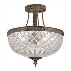 Crystorama English Bronze Richmond 3 Light Semi-Flush Ceiling Fixture