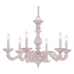 Crystorama Antique White Sutton 6 Light 28in. Wide Wrought Iron Candle Style Chandelier