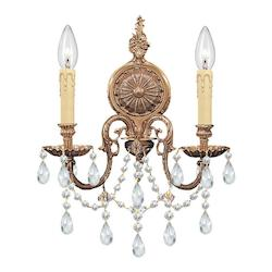 Crystorama Two Light Olde Brass Wall Light