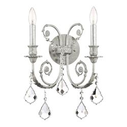 Crystorama Two Light Olde Silver Wall Light