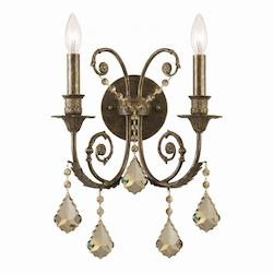 Crystorama Two Light English Bronze Wall Light
