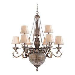 Crystorama Nine Light Weathered Patina Up Chandelier
