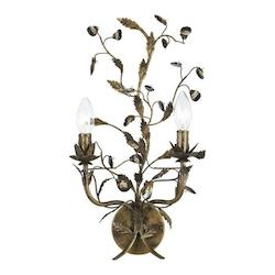 Crystorama English Bronze Paris Flea Market 2 Light Candle Style Double Wall Sconce