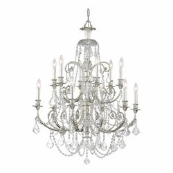 Crystorama Twelve Light Olde Silver Up Chandelier