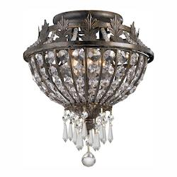 Crystorama English Bronze Crystal Flush Mount Ceiling Fixture