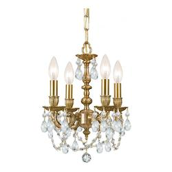 Crystorama Four Light Aged Brass Up Mini Chandelier