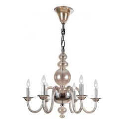 Crystorama Polished Chrome Harper 6 Light 29in. Wide Blown Glass Candle Style Chandelier