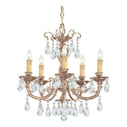 Crystorama Five Light Olde Brass Up Chandelier