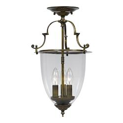 Crystorama Autumn Brass Camden 3 Light Semi-Flush Ceiling Fixture