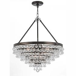 Crystorama Eight Light Vibrant Bronze Down Chandelier
