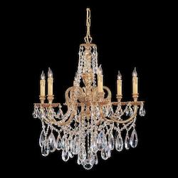 Crystorama Six Light Olde Brass Up Chandelier