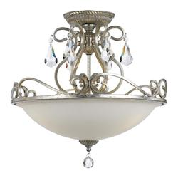 Crystorama Three Light Olde Silver Bowl Semi-Flush Mount
