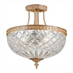 Crystorama Three Light Olde Brass Bowl Semi-Flush Mount