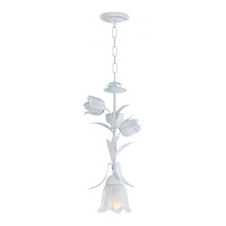 Crystorama One Light Wet White Down Pendant