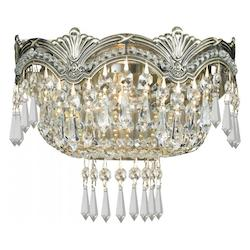 Crystorama Historic Brass / Hand Polished Majestic 2 Light Crystal Flushmount Wall Sconce