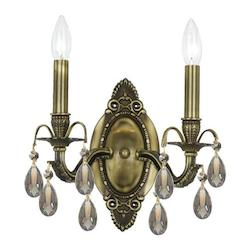 Crystorama Two Light Antique Brass Wall Light