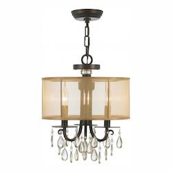 Crystorama Three Light English Bronze Drum Shade Chandelier