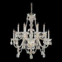 Crystorama Traditional Brass 12 Candelabra Light Chandelier With Clear Crystals