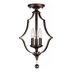 Crystorama English Bronze Parson 3 Light Semi-Flush Ceiling Fixture