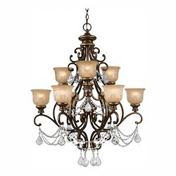 Crystorama Nine Light Bronze Umber Amber Etched Glass Up Chandelier