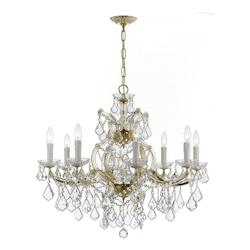 Crystorama Nine Light Gold Up Chandelier