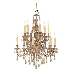 Crystorama Twelve Light Olde Brass Up Chandelier