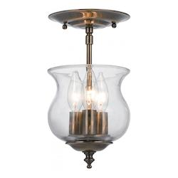 Crystorama Antique Brass 3 Light Semi Flush Ceiling Fixture from the Ascott Collection