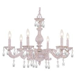 Crystorama Six Light Antique White Up Chandelier