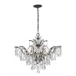 Crystorama Six Light Vibrant Bronze Down Chandelier